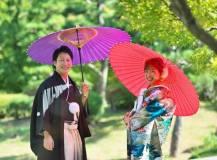 大津市の日本庭園にて和装前撮りロケ