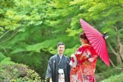 新緑の日本庭園にて和装前撮りロケ