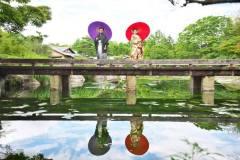 日本庭園で和装前撮りロケ