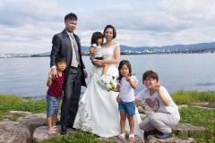 びわ湖にて結婚式後撮り