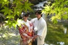 日本庭園にてもみじと前撮りロケ