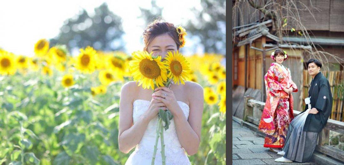 滋賀で和装前撮り洋装ドレス前撮りフォトウェディングが格安