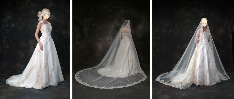 マリアベール付きのウェディングドレスのレンタルが格安