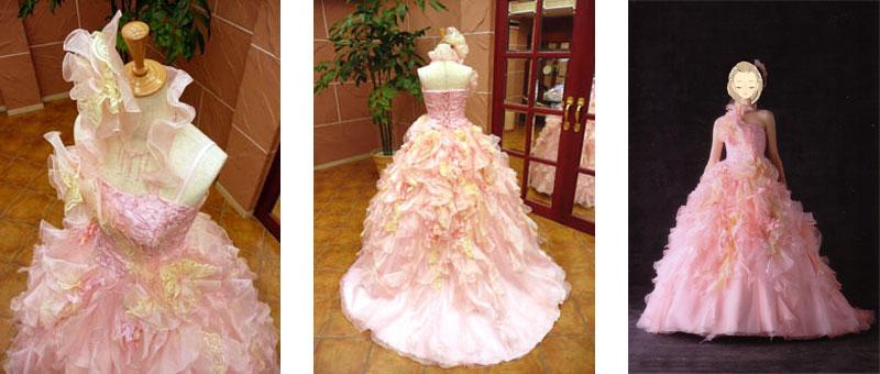 ピンクの可愛いカラードレスのレンタルが格安