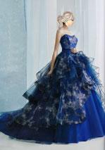 青色の豪華なカラードレス滋賀京都