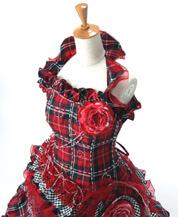 チェック柄のカラードレス