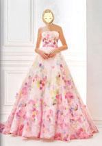 プリント柄の可愛いカラードレス