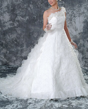 ワンショルダーウェディングドレスのレンタルが格安